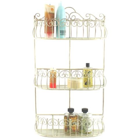 Cream Scrolled Metal 3 Shelf Bathroom Wall Storage Baskets